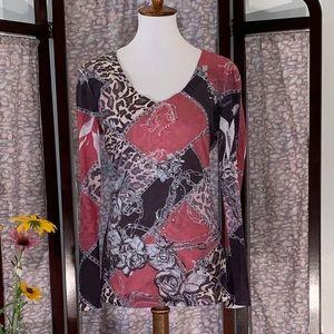 Cache reddish long sleeved tee top.